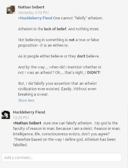 Atheism falsified.