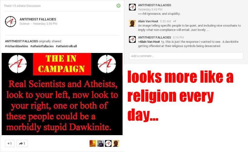 Desecration of Religious Dawkinite Symbols