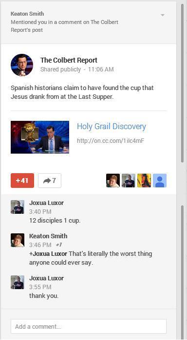 Trolling Steven Colbert, on g+